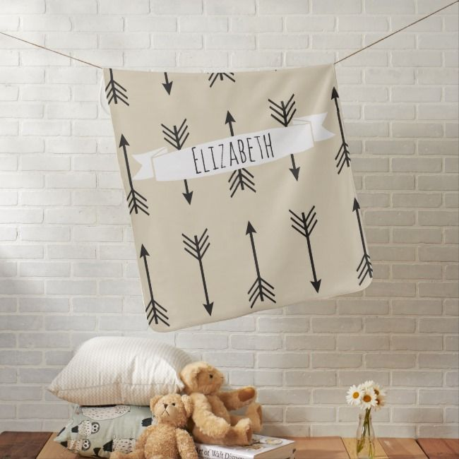 Black Bohemian Arrows  Babys Name Baby Blanket