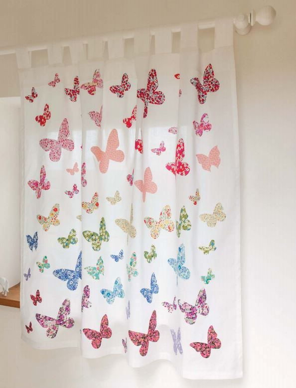 simple white drapes made wonderful with appliqud butterflies from liberty of london prints liberty stof