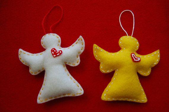 Felt Christmas ornaments Felt angel ornaments Ideas con fieltro