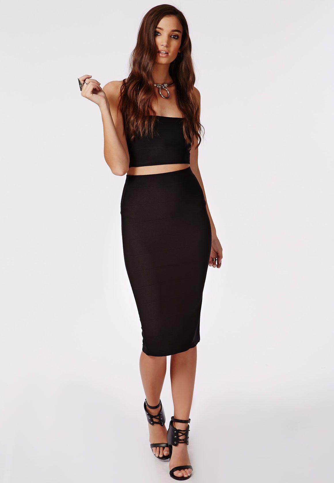 bandage-midi-skirt-black | Black Skirt | Pinterest | Skater skirt ...