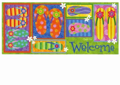 Sassafras Flip Flop Welcome Switch Mat 10 X 22 Insert Door Mat Entry Mats Decorative Accessories