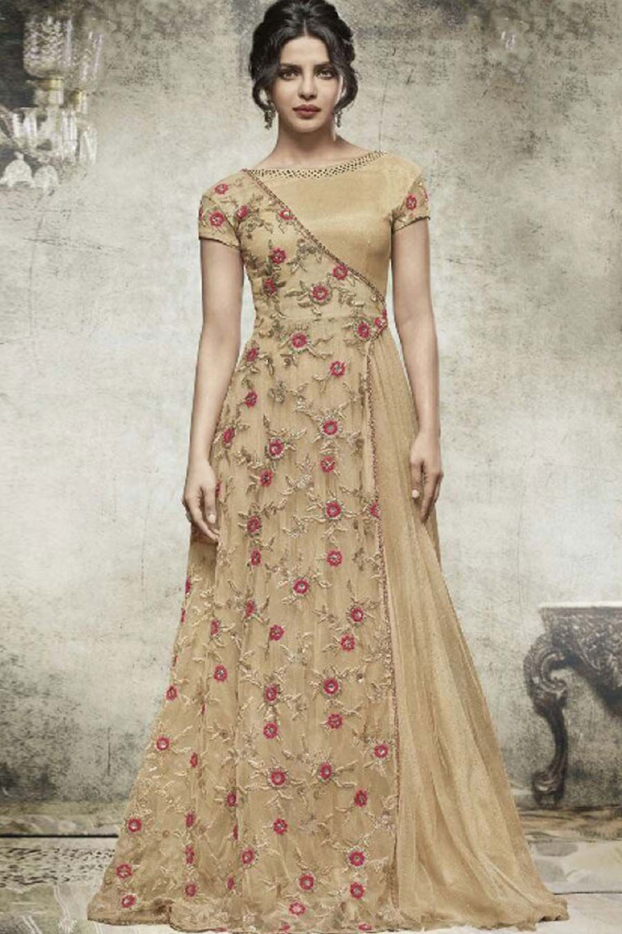 ae2928bf59 Beige Net Semi Stitch Designer Dress