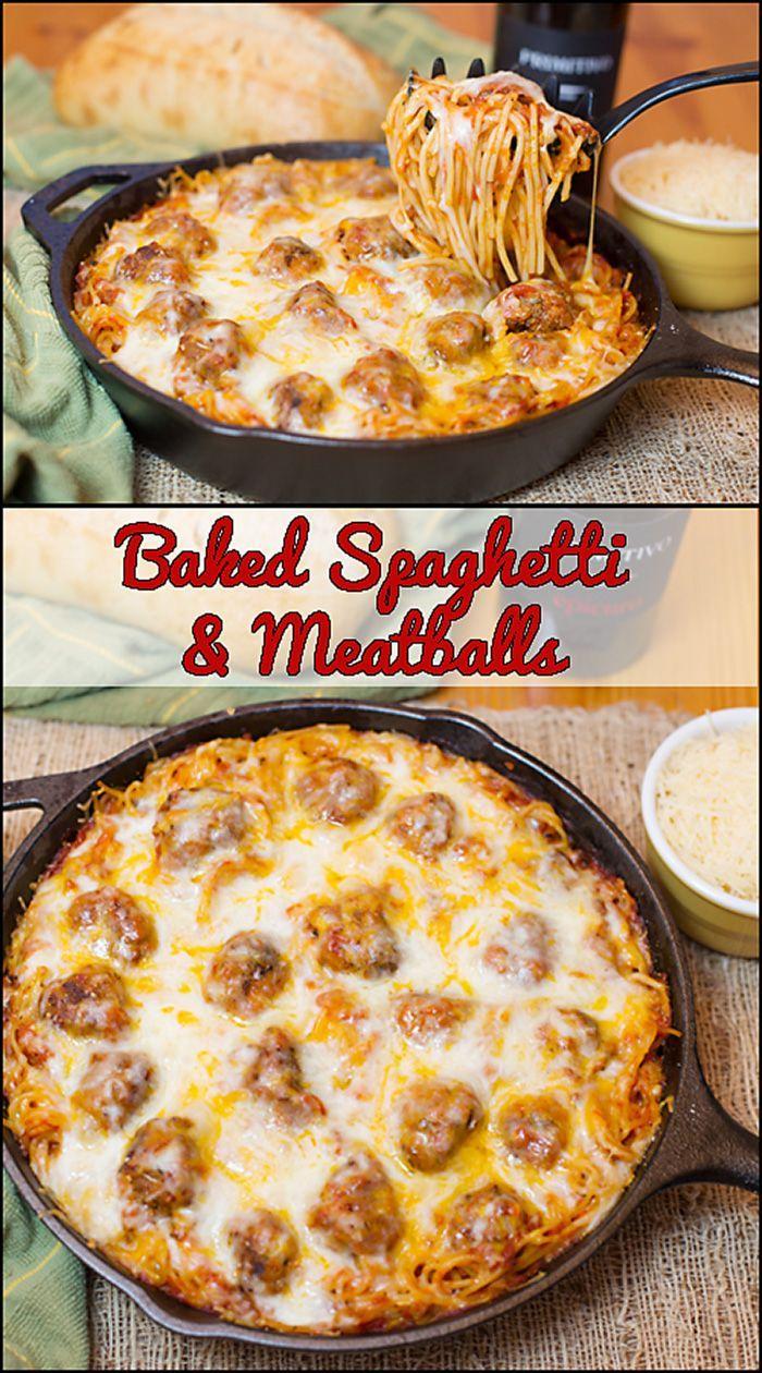 Baked Spaghetti & Meatballs  www.joyineveryseason.com #meals