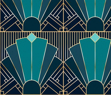 Colorful fabrics digitally printed by Spoonflower - Art Deco in Teal
