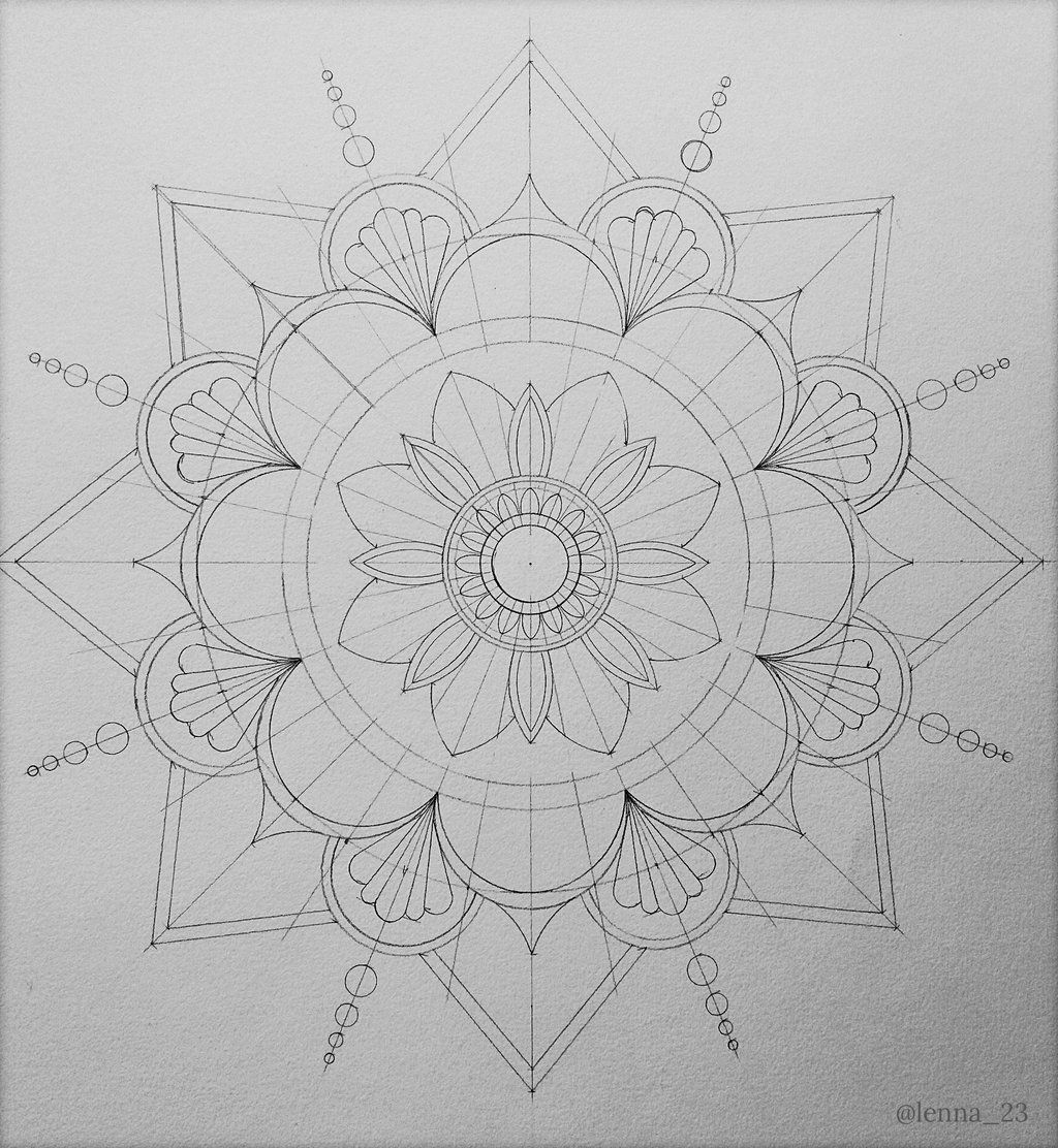 Starting A Hand Drawn Mandala Pattern Using A Compass And Protractor To Mark Out The Circles And Mandala Malen Anleitung Mandala Selber Malen Mandalas Zeichnen
