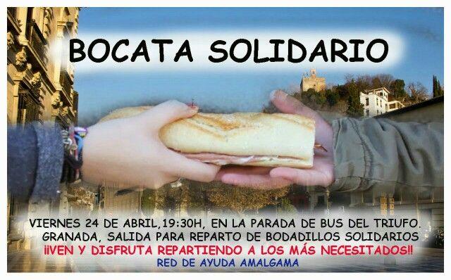 #Solidario,  #voluntariado #Reparto de bocata solidario Viernes 24 abril, 19:30, parada bus LAC Triunfo, en #Granada, erasmus, estudiantes, profesor, ONG   https://www.facebook.com/events/746458238756870/  reparto de bocadillos solidarios. Dia viernes a las 19:30 h en la parada de autobus del L. A. C del Triunfo. Cada persona que quiera colaborar debera llevar ellos mismos los bocadillos Red Amalgama Fran 655 01 10 75   No somos organizadores solo Informamos  Informa de eventos en Granada…