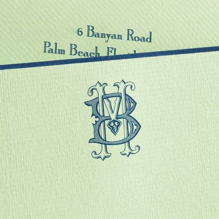 Bespoke Stationery   Mint Green Empire card with Navy Blue Border and Navy Blue Monogram