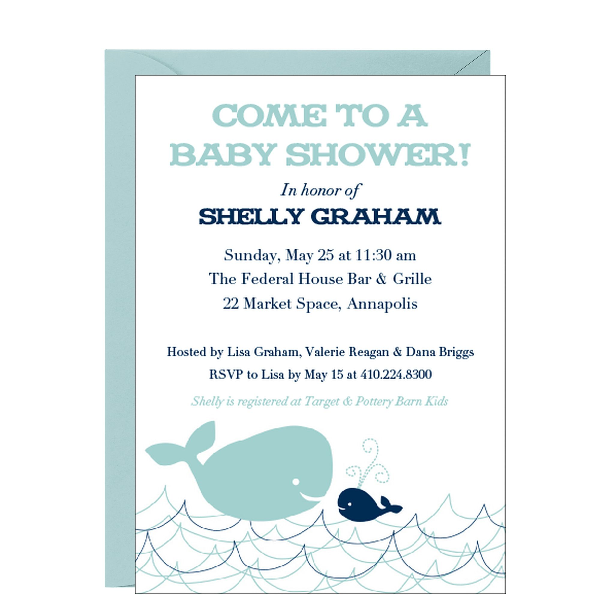 Whales Baby Shower Invitation. That\'s cute and simple. | Baby stuff ...