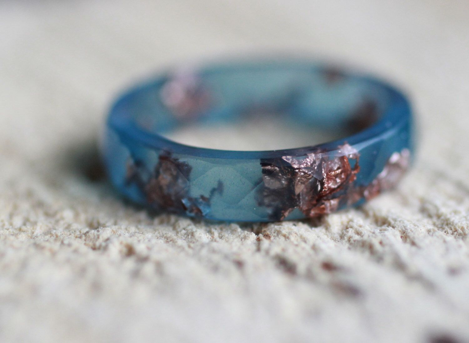 Labradorite Resin Ring Resin faceted stacking ring Copper flakes