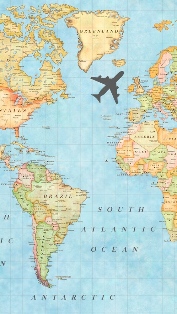Travelling World Map Travel Desinations Pastel Colors