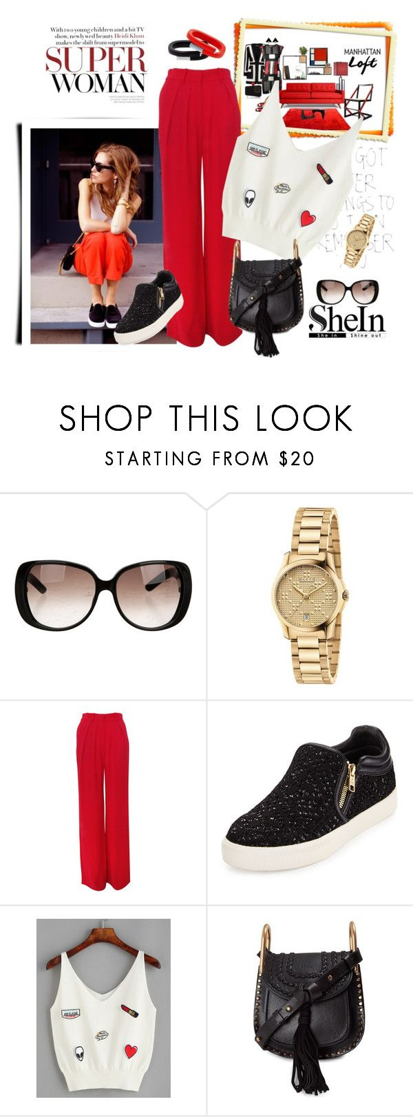 """""""Top - with SHEIN"""" by autumn-soul ❤ liked on Polyvore featuring Gucci, Isabel Marant, Ash and Chloé"""