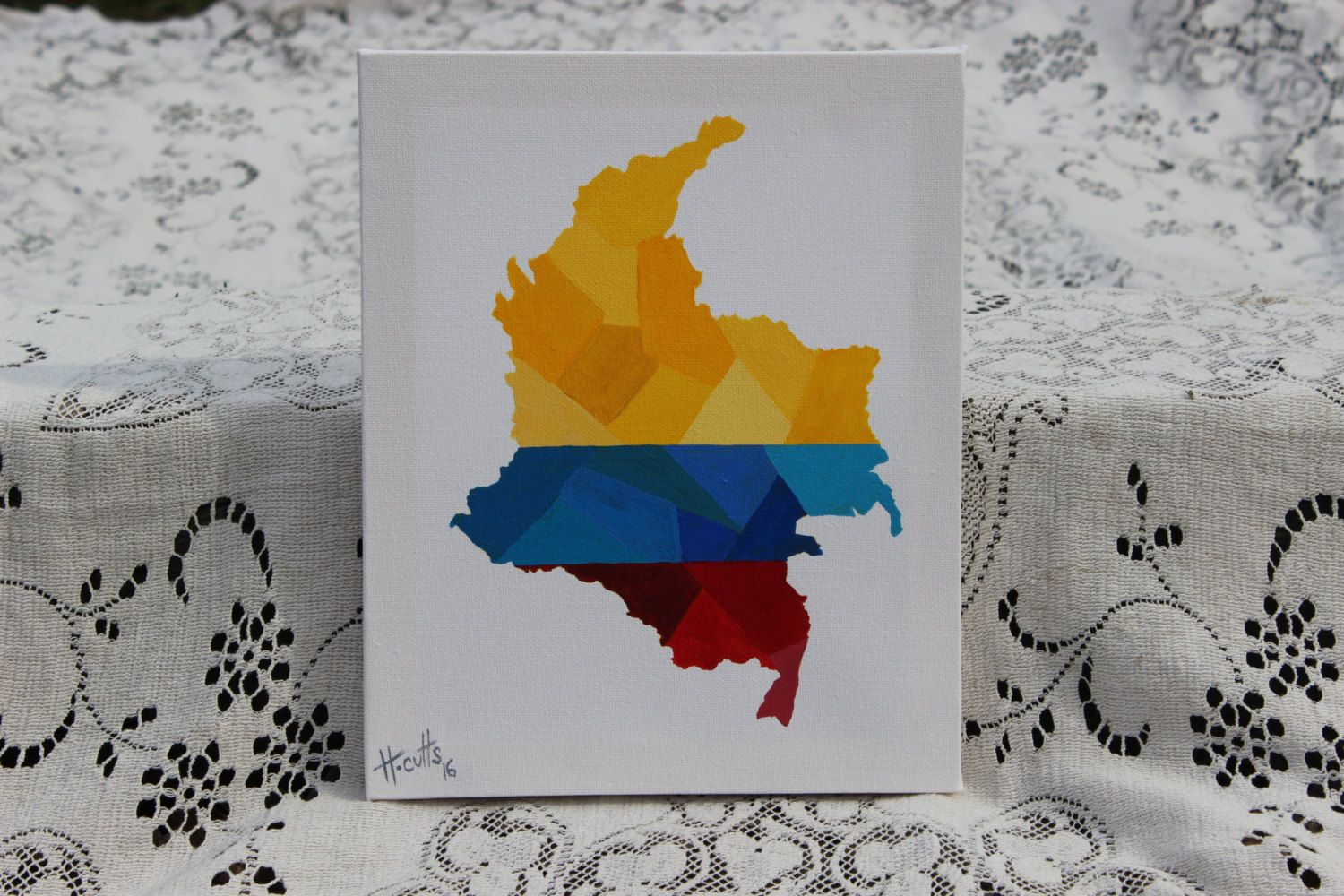 Colombia On World Map%0A Colombia Country Map Painting  Map and Flag of Colombia  Acrylic on Canvas   Wall