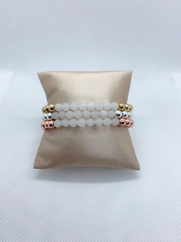 White Faceted Jade w/ Mixed Metal Bracelet Stack, Womens Jewelry, Beaded Bracelet, Stretch Bracelets