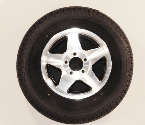 Radial Trailer Tire Rim ST205//75R14 205//75-14 5 Lug Wheel Aluminum 5Star//Black
