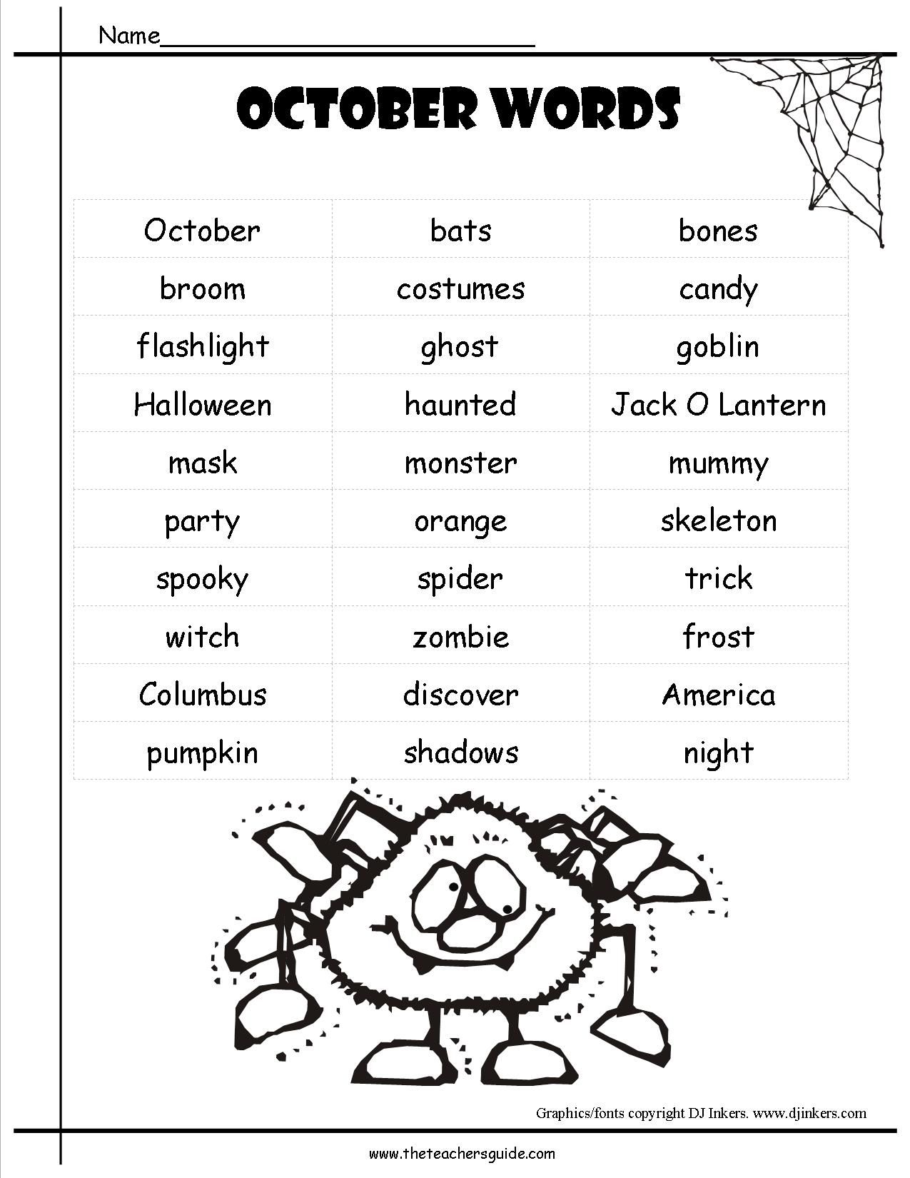 Image Result For Halloween Word List