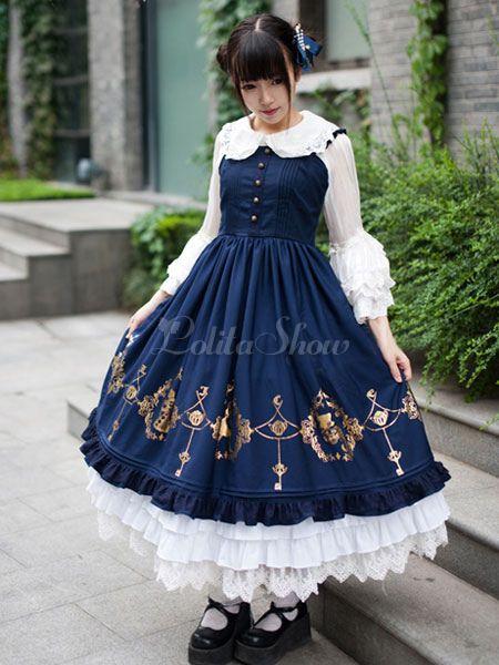 Süße Lace gedruckt Schaltflächen synthetische Lolita Jumper Skirt - Lolitashow.com
