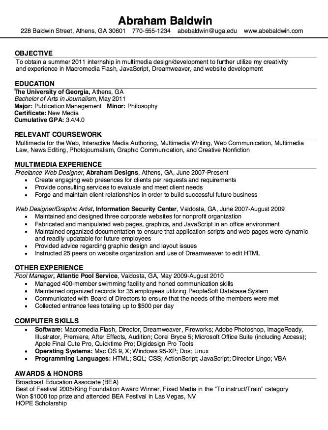 free resume samples - Multimedia Resume Examples