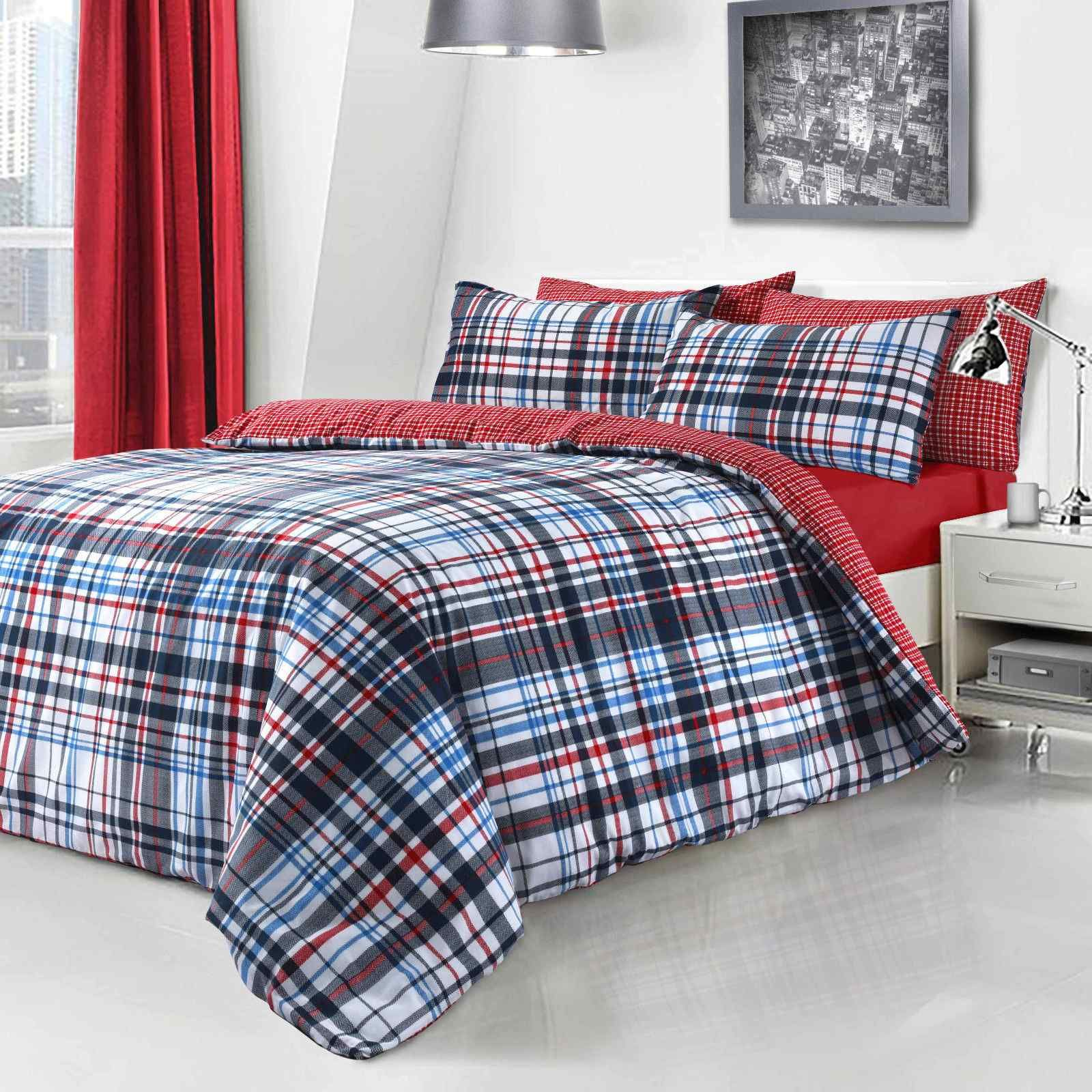Check Printed Duvet Quilt Bedding Set Blue Linens Range