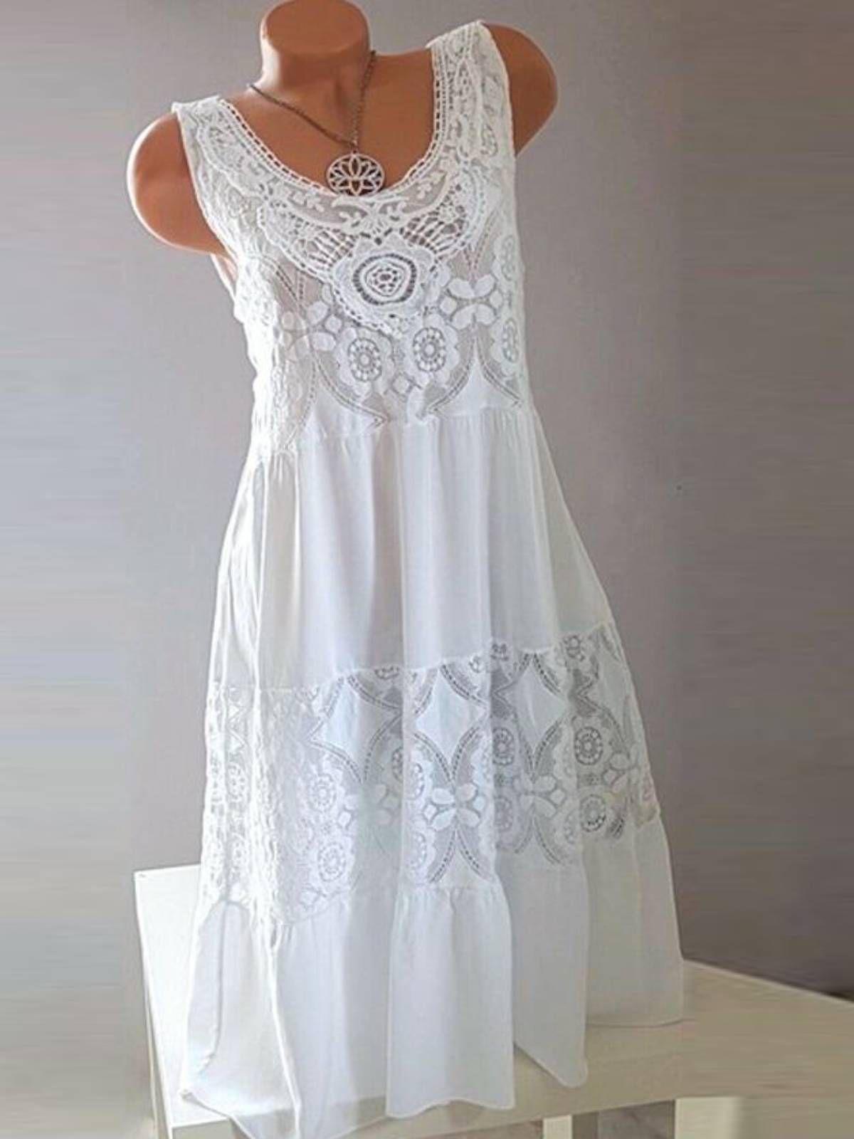 White Cotton Sleeveless Dresses Plus Size Summer Dresses Lace Midi Dress Sleeveless Cotton Dress [ 1600 x 1200 Pixel ]