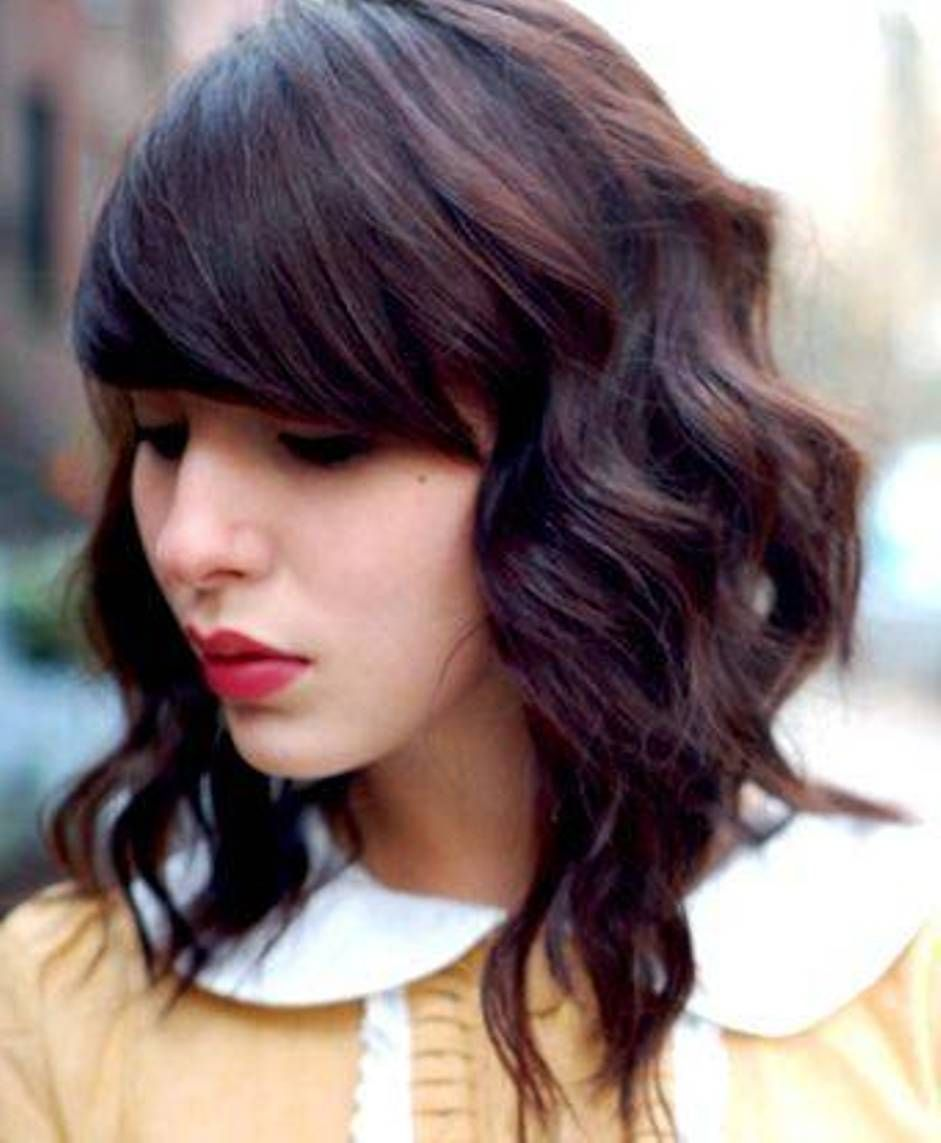 Images For ue Medium Curly Hair With Bangs Haircut Pinterest