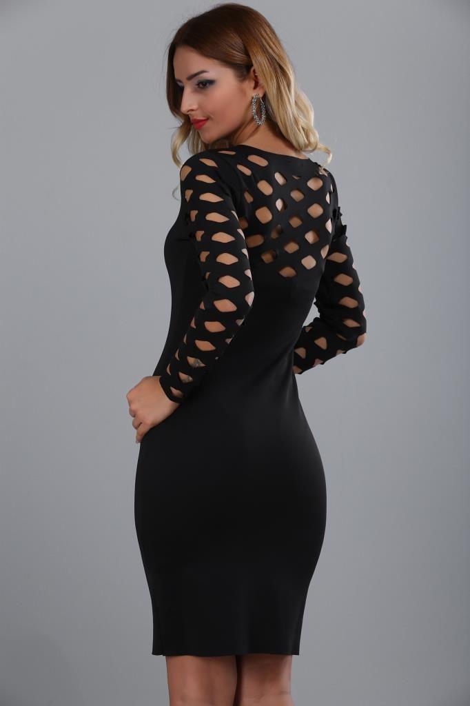 Patirti Ust Lazer Kesim Siyah Elbise The Dress Elbise Kisa Elbiseler