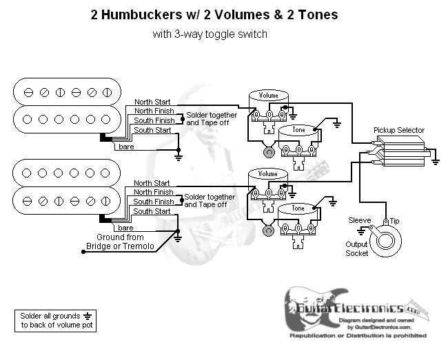 2 Humbuckers 3 Way Toggle Switch 2 Volumes 2 Tones Three Way Switch Electrical Circuit Diagram 3 Way Switch Wiring