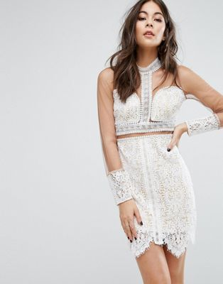 Prettylittlething Lace Mesh Sleeve Bodycon Dress Clothing