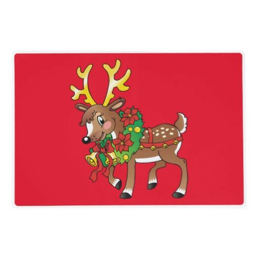 Christmas Reindeer laminated paper place mat Laminated Placemat