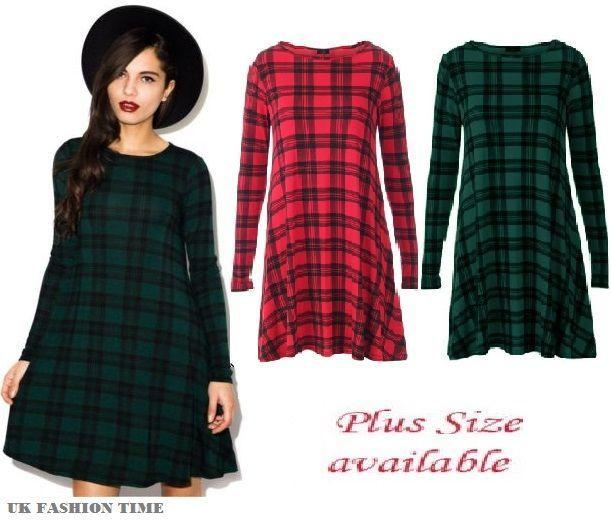 0a0d849a885 Womens Red Green Tartan Check Print Long Sleeve Swing Skater Dress Plus  Size8-24