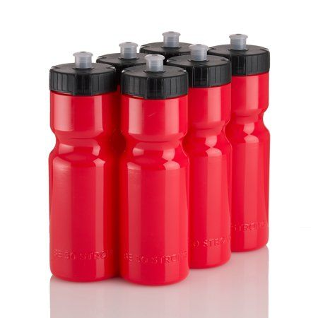 Set Of 6 Team Pack – 22 Oz Bpa Fre 50 Strong Sports Squeeze Water Bottles