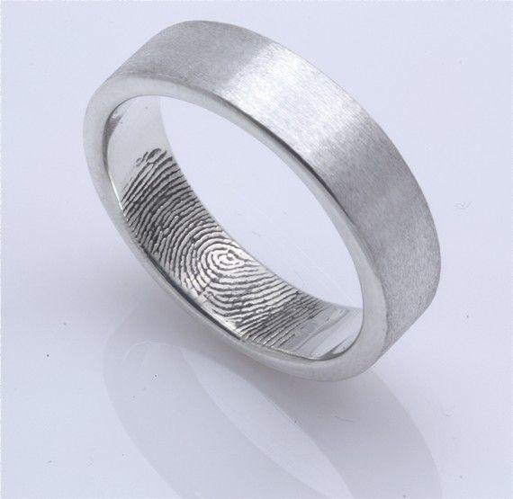 Custom Fingerprint Wedding band with single fingertip whorl inside
