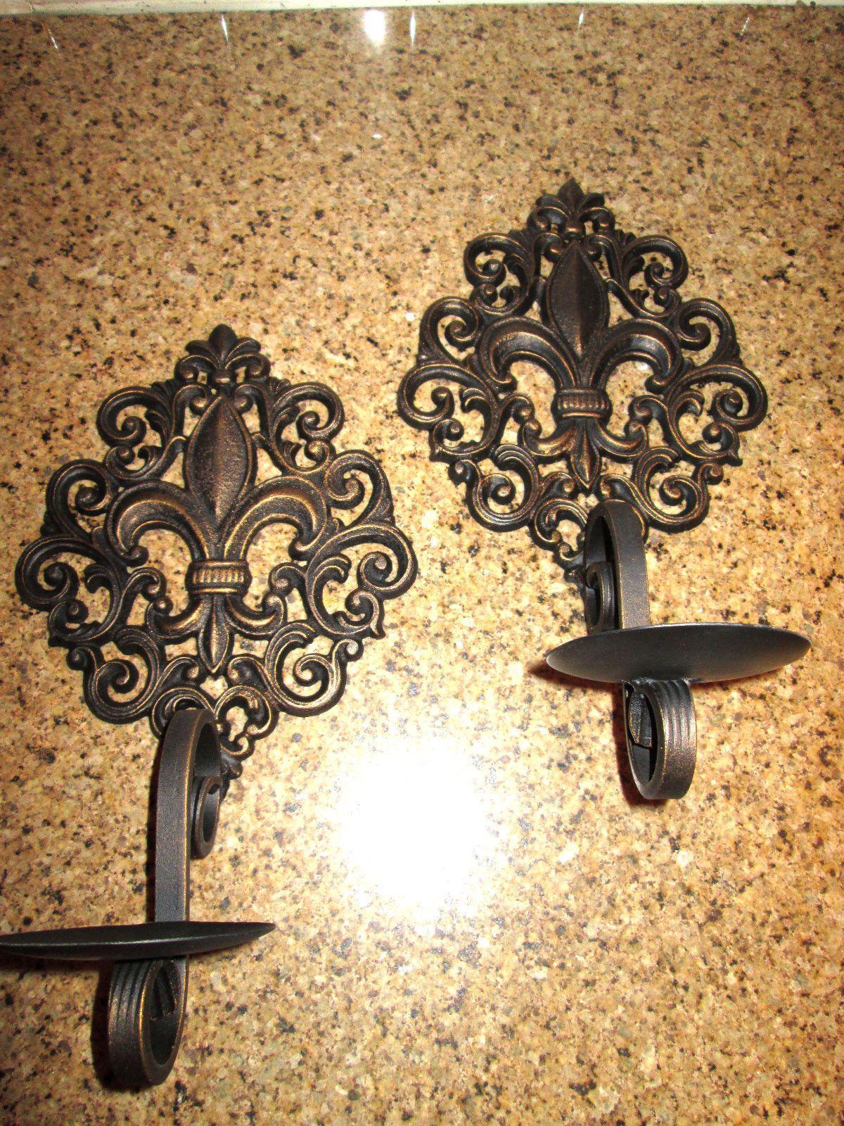 Set of 2 iron Fleur de Lis Candle Holders / Sconces. Original design ...