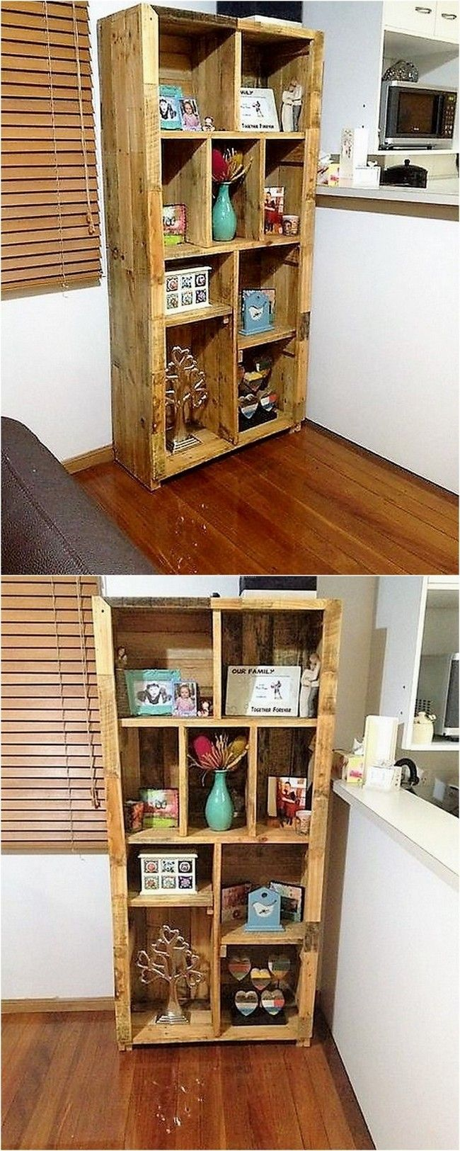 lovely pallet wood feature shelving unit style1   Pallet ...