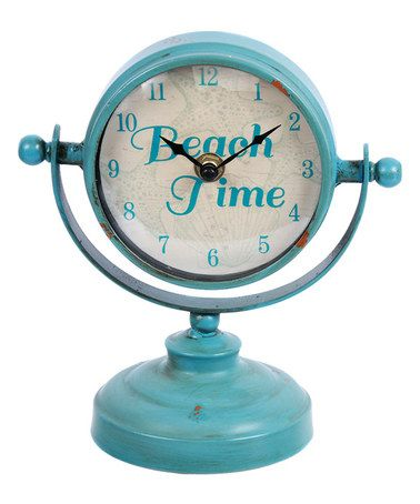Loving this Aqua 'Beach Time' Table Clock on #zulily! #zulilyfinds