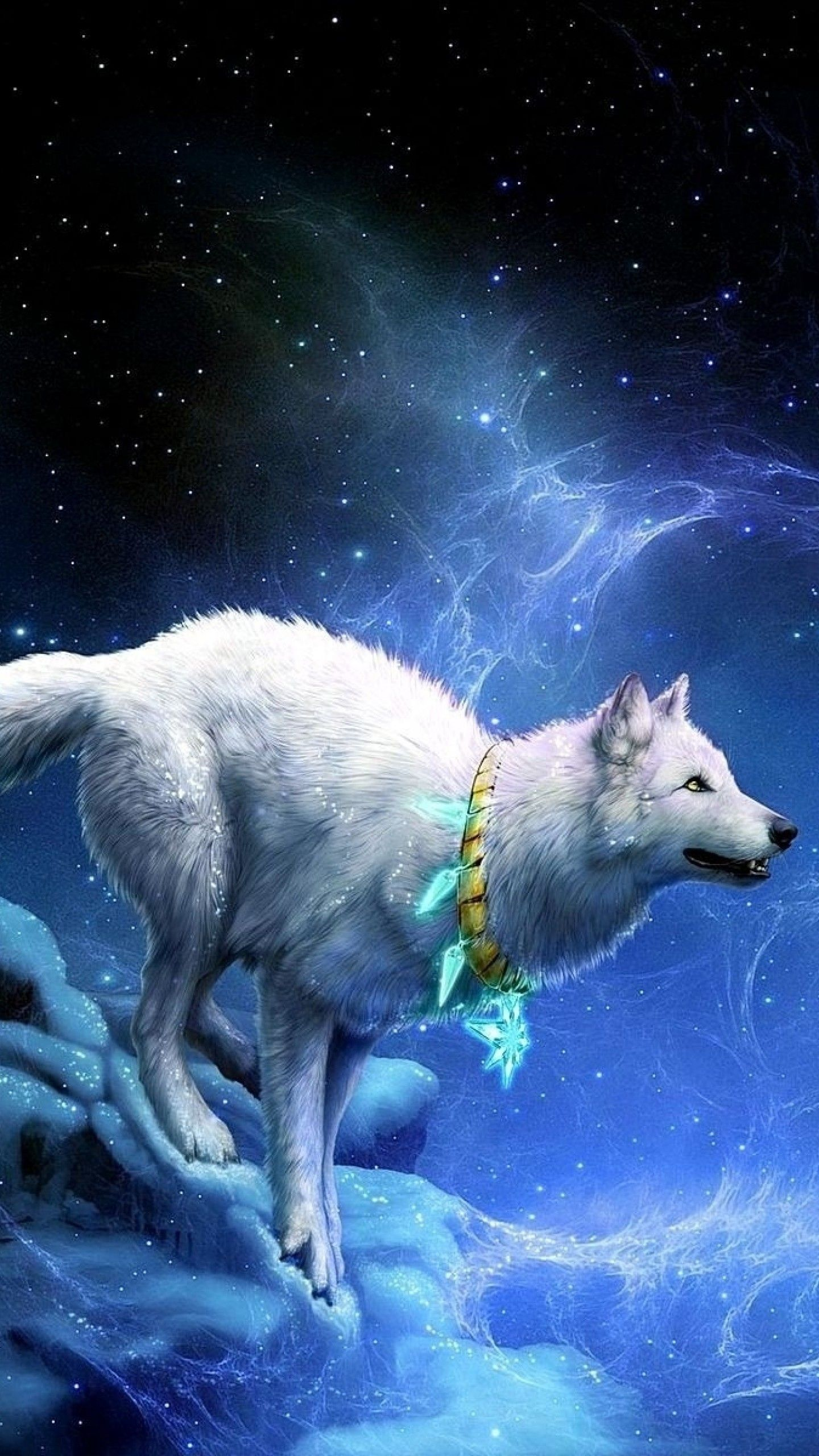 1440x2560 Preview Wallpaper Wolf Arrivals Moon Breakage
