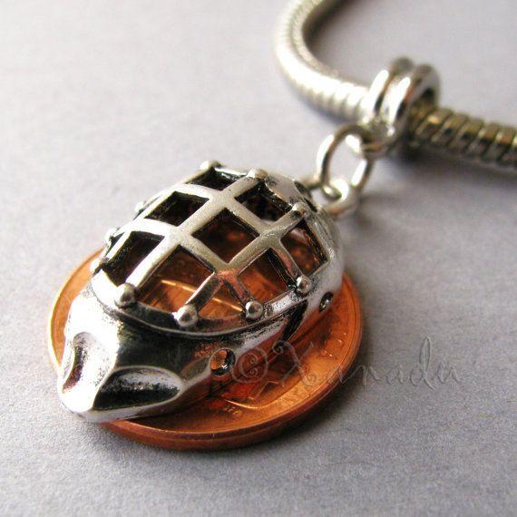 Hockey Goalie Mask Large Hole Charm Pendant For European Charm Bracelets