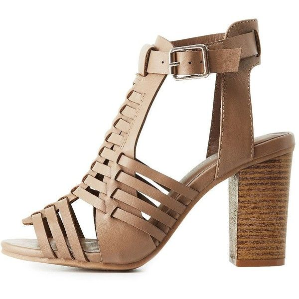 1bf4e9a40ab Wild Diva Lounge Chunky Heel Huarache Sandals ( 41) ❤ liked on Polyvore  featuring shoes