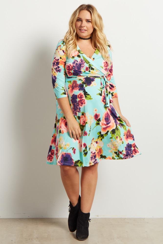 Mint Floral Sash Tie Plus Maternity Nursing Dress Floral Green