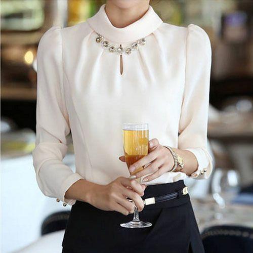Fashion Women's Long Sleeve Turtle Neck Thick Tops Slim OL Chiffon Shirt Blouse
