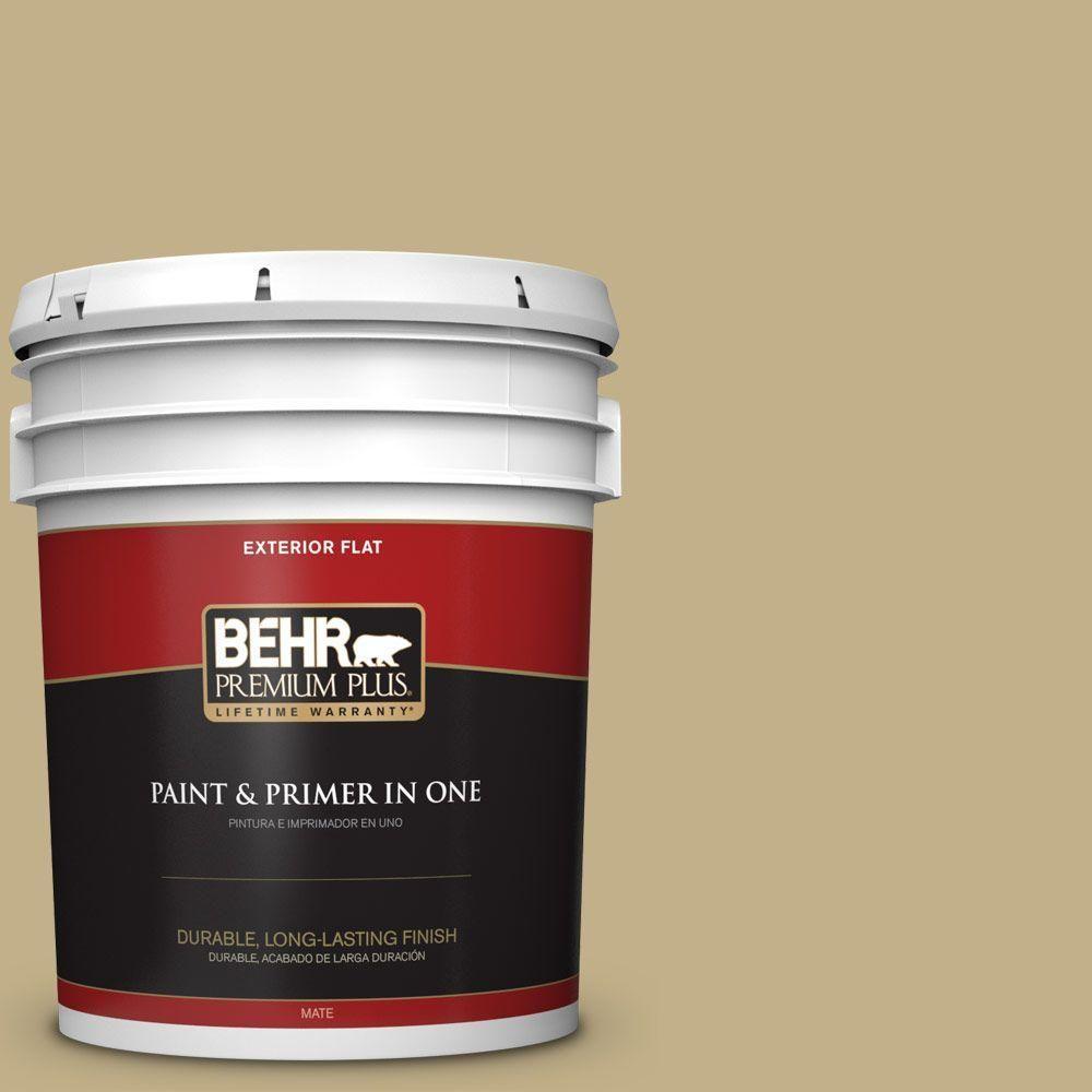 BEHR Premium Plus 5-gal. #380F-5 Harmonic Tan Flat Exterior Paint