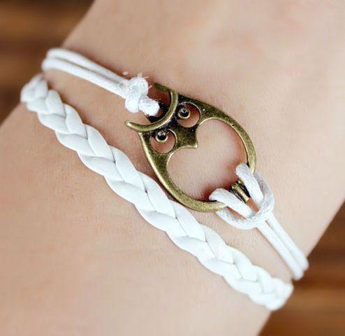 Owl Leather Wrap Bracelet <3