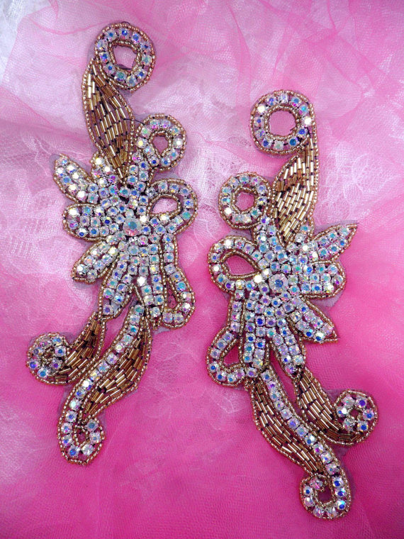 "Leaf Appliques Sequin Green Mirror Pair Beaded Motif Clothing Patch 2/"" XR293X"