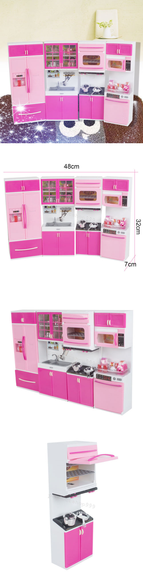 Toys for kids kitchen set  Kitchens  Cute Kitchen Pretend Play Cooking Set Cabinet Stove