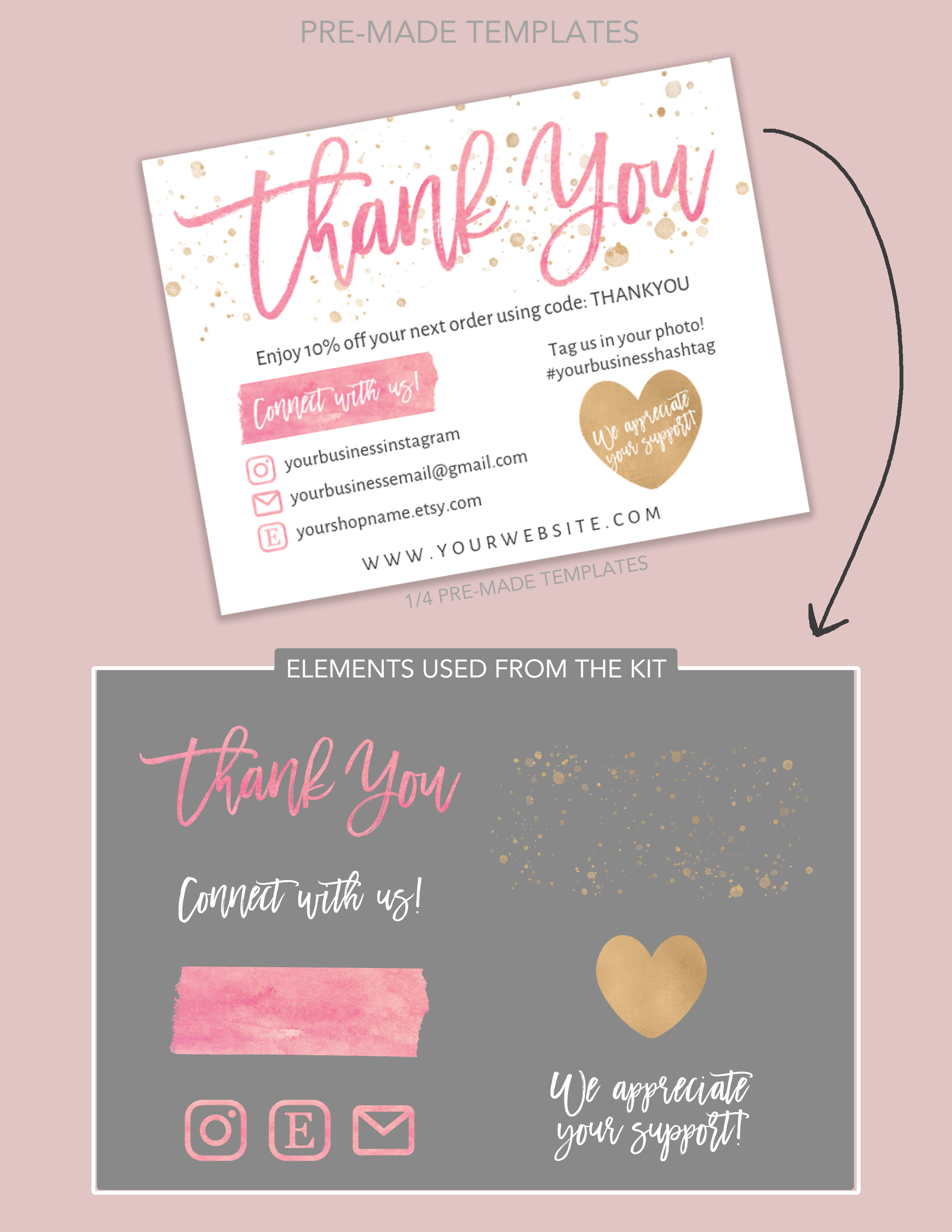 DIY Printable Thank You Card for Your Order - Small Business Card - Add logo, Social Media Icons - Instagram, Poshmark, Etsy, Website, Email #businessthankyoucards
