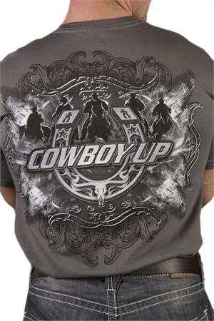 Download Cowboy Up Men's Grey Open Range Western T-Shirt | Mens ...