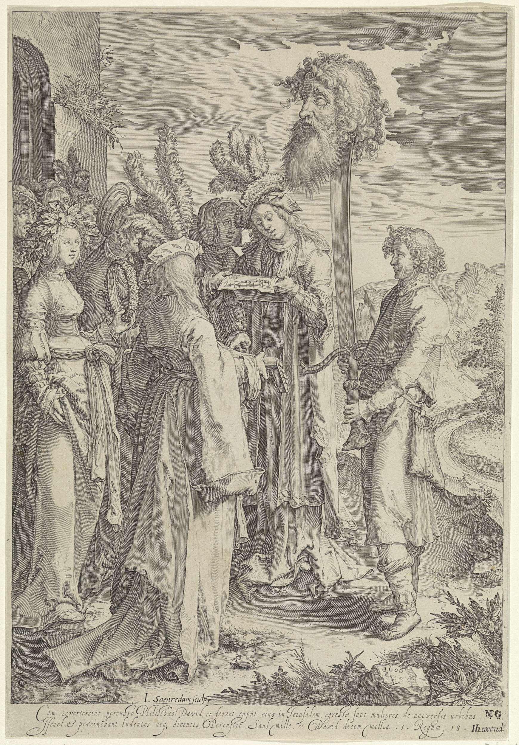 Jan Saenredam | Triomferende David met het hoofd van Goliat, Jan Saenredam, Hendrick Hondius (I), 1600 | Rechts staat David met een groot zwaard. Op het zwaard is het hoofd van Goliat gespiest. Voor hem staan enkele zingende en musicerende vrouwen. Onder de voorstelling een tweeregelige, Latijnse tekst met een beschrijving van de scène uit 1 Samuel 18.