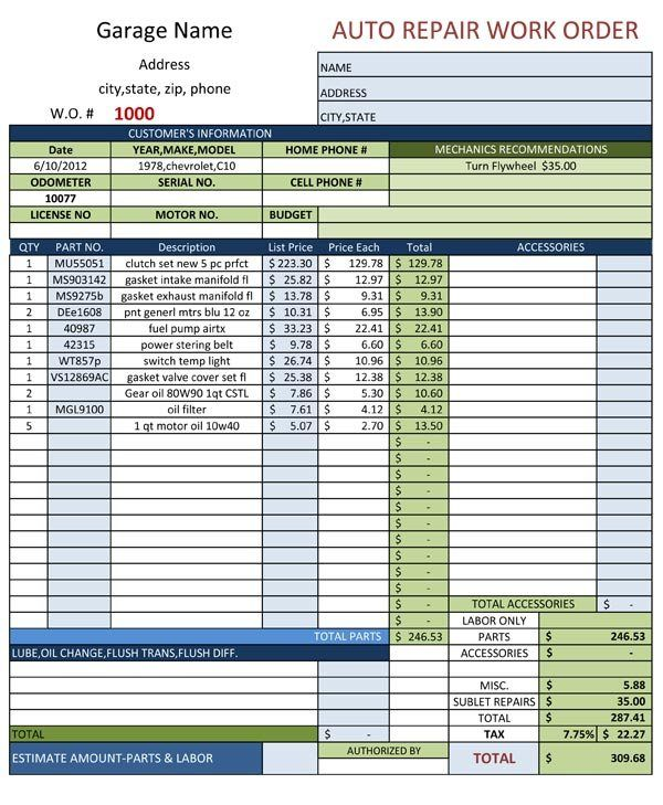 Excelbuz is all about providing {quotation and sale invoice - auto repair invoice template