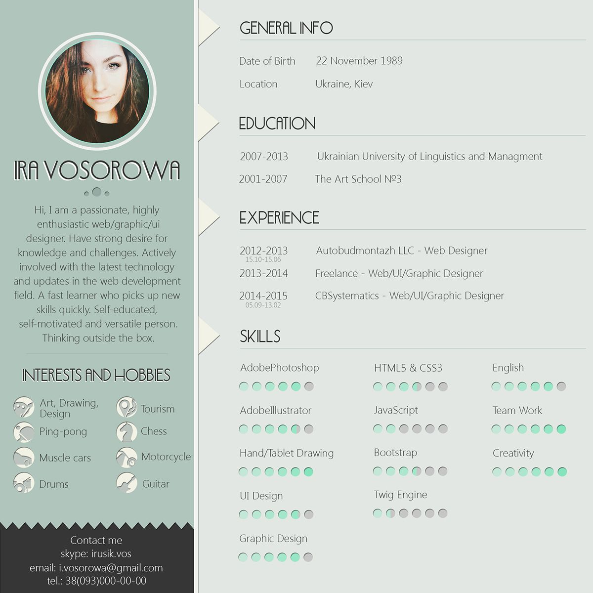 Mint CV design. On the links below you can get free psd