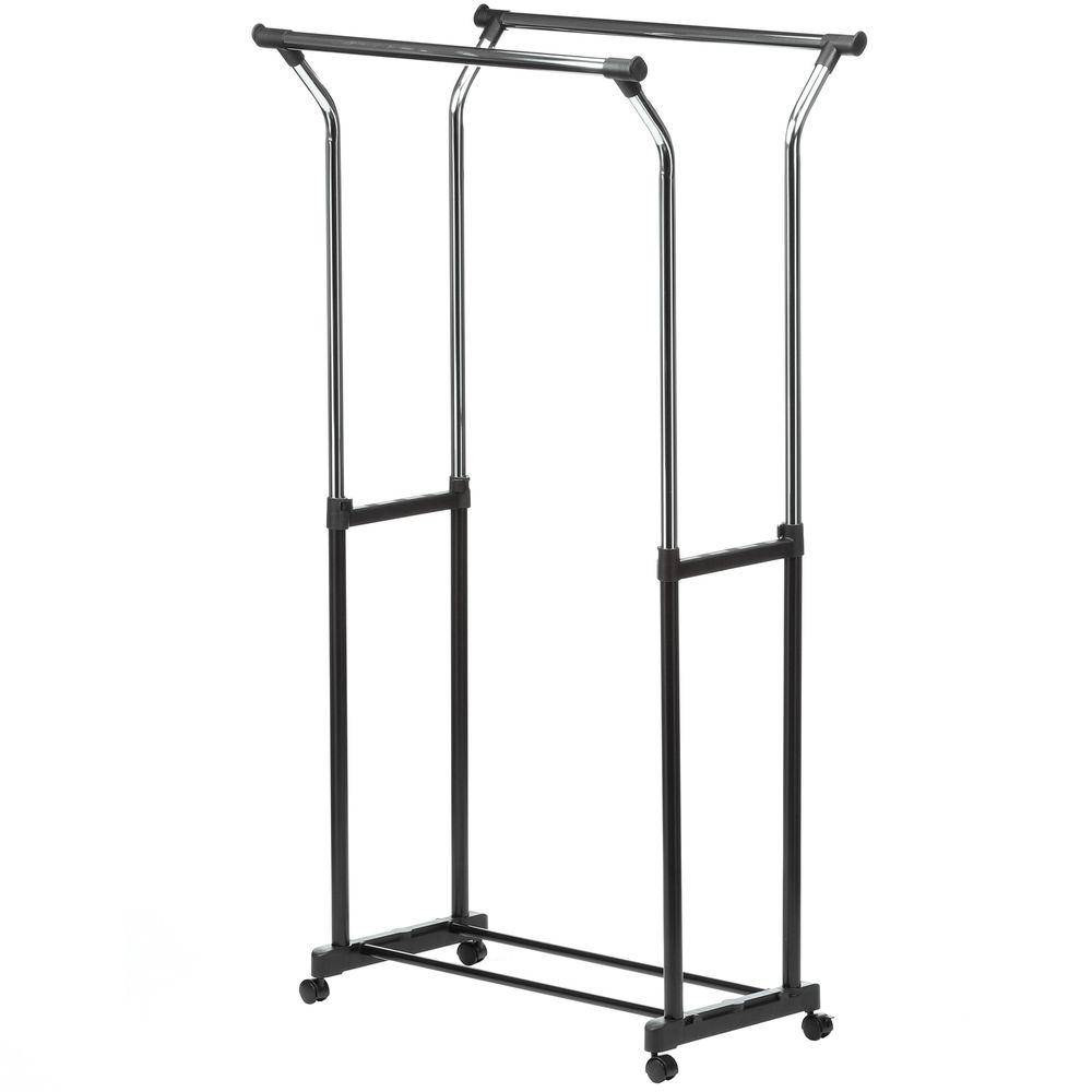 Flared Double Bar Steel Rolling Garment Rack In Black Chrome Grey
