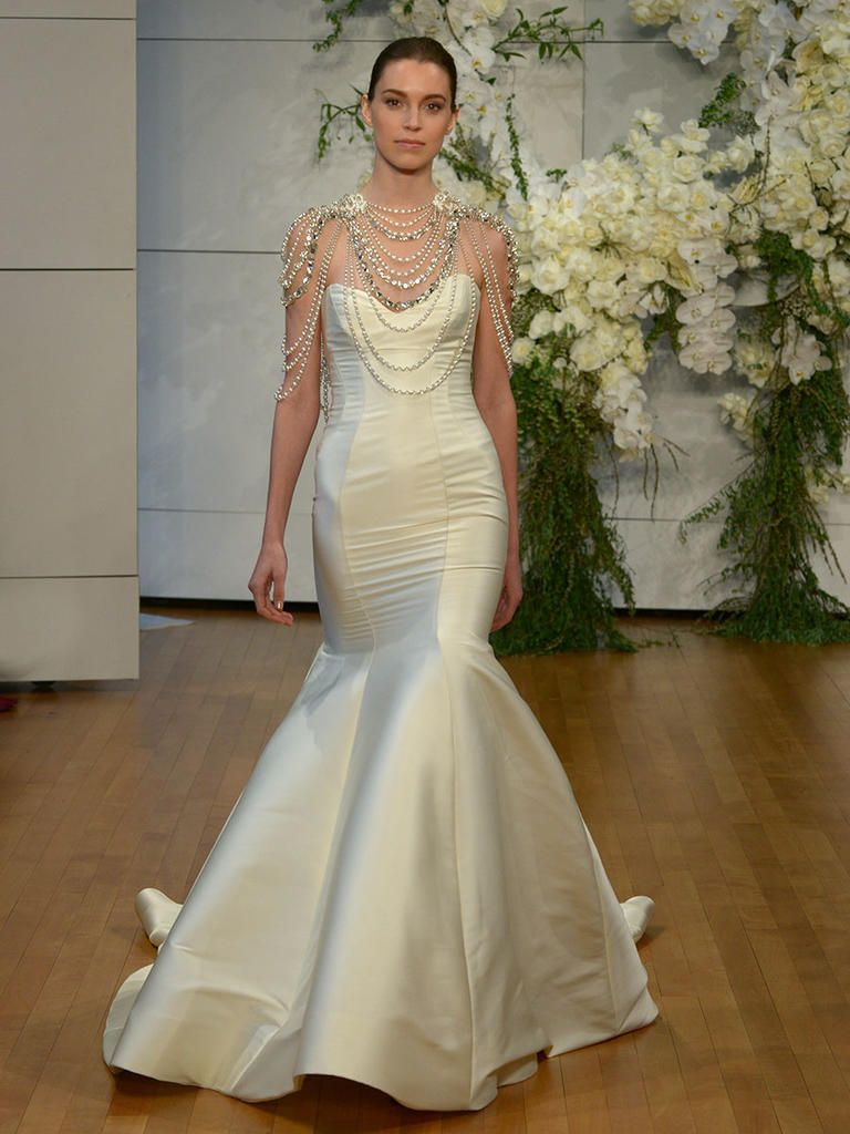 6d3978035e Monique Lhuillier Spring 2018 fit and flare gown with sweetheart neckline  and pearl and diamond overlay